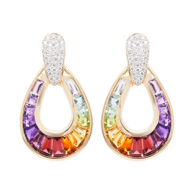 18 Karat Gold Taper Baguette Multi-Color Rainbow Diamond Dangling Drop Earrings For Sale
