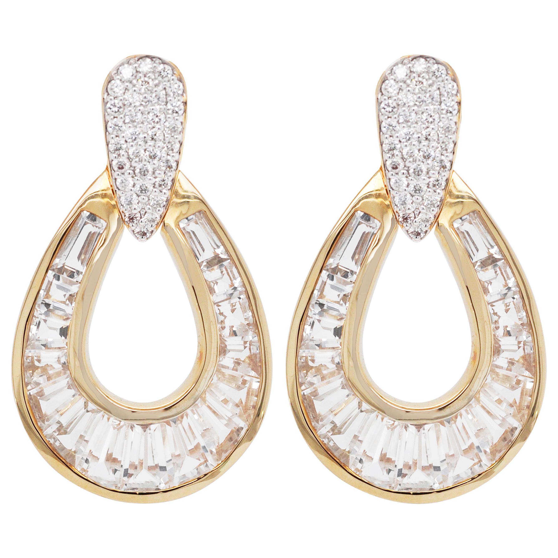 18 Karat Gold White Topaz Taper Baguette Diamond Dangle Teardrop Earrings