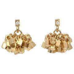 """18 Karat Gold """"Tassel"""" with Diamond Stud Top Pierced Earrings"""