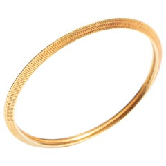 18 Karat Gold Textured Bangle Bracelet