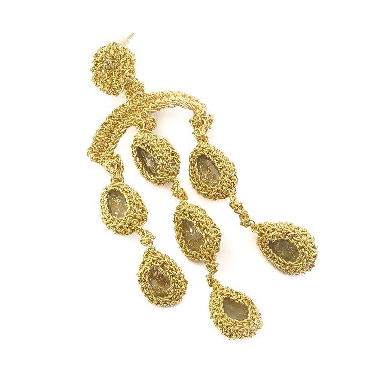 Artisan 18 Karat Gold Thread Aquamarine Chandelier Crochet One of a Kind Luxury Earrings For Sale