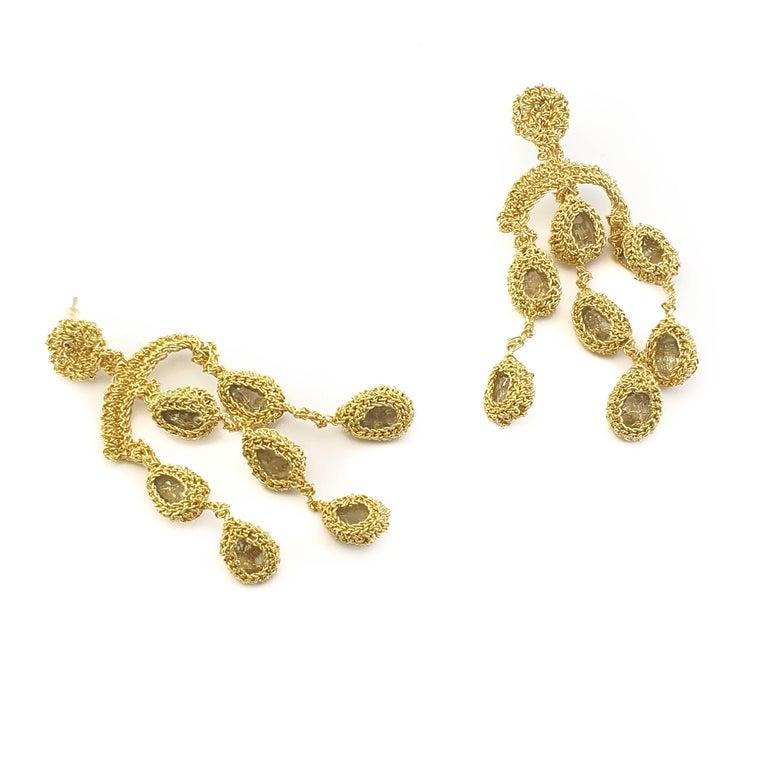 Women's 18 Karat Gold Thread Aquamarine Chandelier Crochet One of a Kind Luxury Earrings For Sale