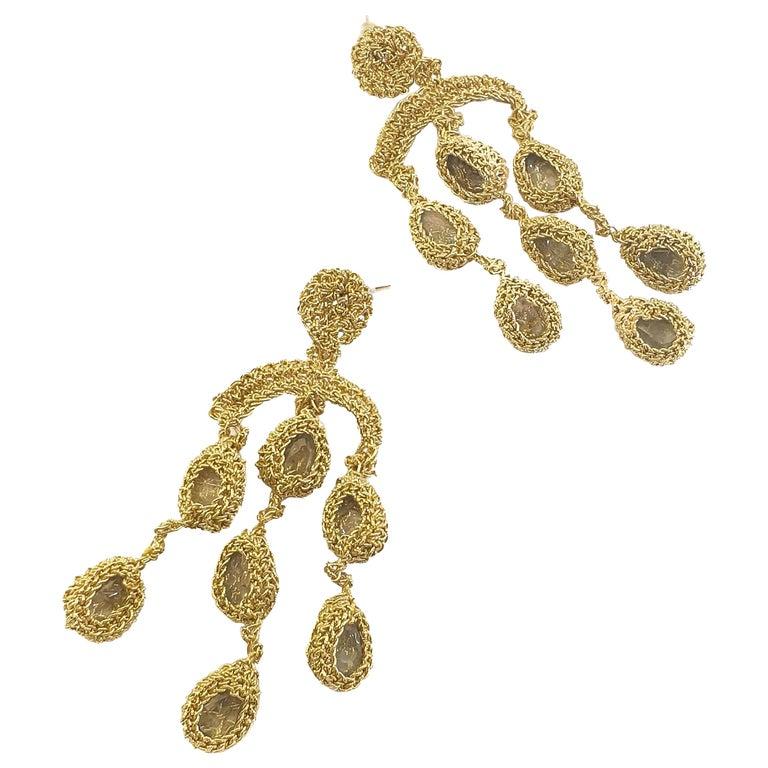 18 Karat Gold Thread Aquamarine Chandelier Crochet One of a Kind Luxury Earrings For Sale