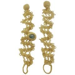 18 Karat Gold Thread Aquamarine Crochet Unique One of a Kind Delicate Bracelets