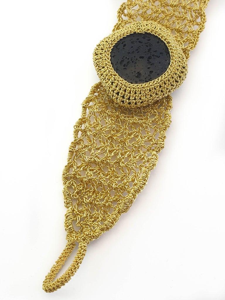 Art Deco 18 Karat Gold Thread Black Lava Stone Handcrafted Unique Classic Style Bracelet For Sale