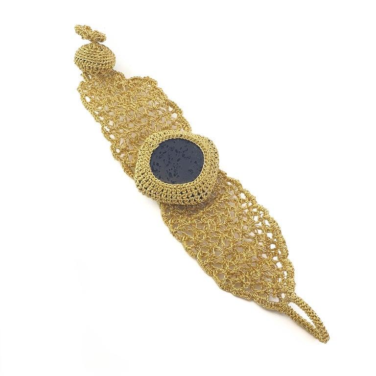 18 Karat Gold Thread Black Lava Stone Handcrafted Unique Classic Style Bracelet In New Condition For Sale In  Kfar Saba, IL