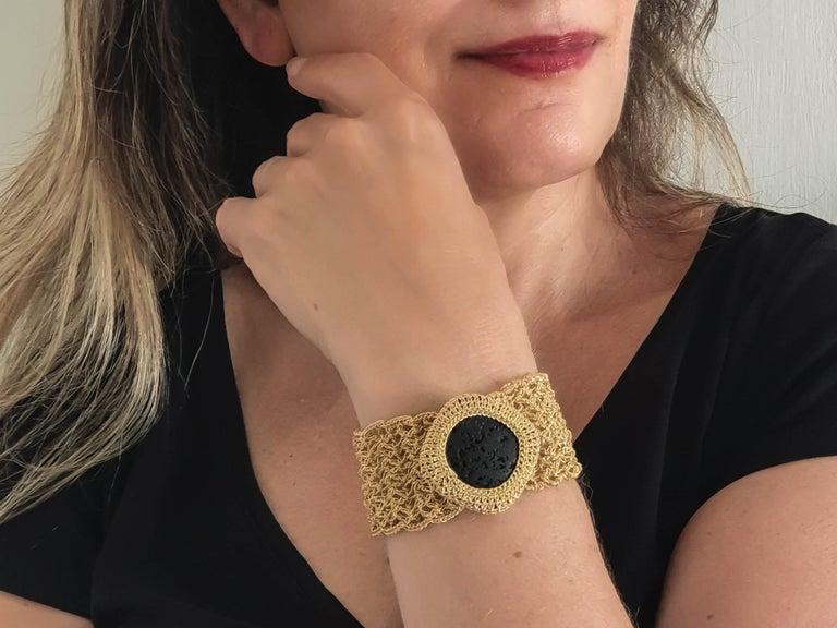 Women's 18 Karat Gold Thread Black Lava Stone Handcrafted Unique Classic Style Bracelet For Sale