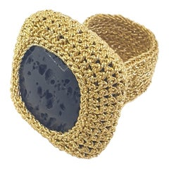 18 Karat Gold Thread Black Natural Lava Crochet Statement Cocktail Handmade Ring