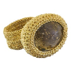 18 Karat Gold Thread Citrine Crochet One of a Kind Statement Handcrafted Ring