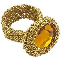 18 Karat Gold Thread Crochet Ring Amber Swarovski Classic Unique Intricate Fine
