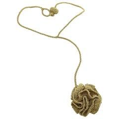 18 Karat Gold Thread Custom Order Crochet Art Nouveau Handmade Drop Necklace