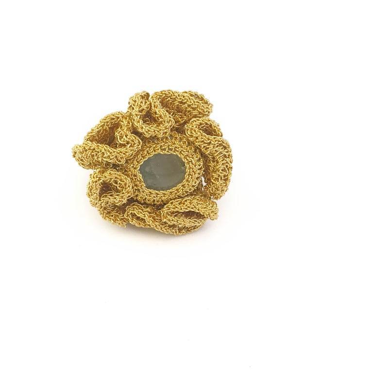 Oval Cut 18 Karat Gold Thread One of a Kind Cocktail Crochet Aquamarine Statement Ring For Sale