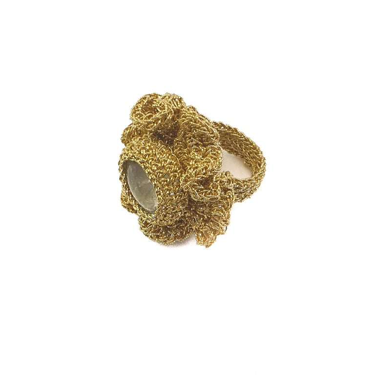 18 Karat Gold Thread One of a Kind Cocktail Crochet Aquamarine Statement Ring In New Condition For Sale In  Kfar Saba, IL