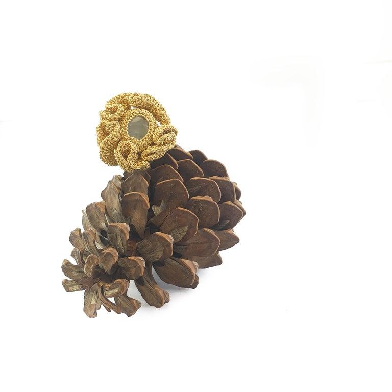 Women's 18 Karat Gold Thread One of a Kind Cocktail Crochet Aquamarine Statement Ring For Sale