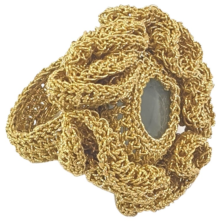 18 Karat Gold Thread One of a Kind Cocktail Crochet Aquamarine Statement Ring For Sale