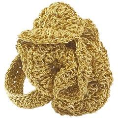 18 Karat Gold Thread Rose Unique Crochet Cocktail Ring Statement Maximalist