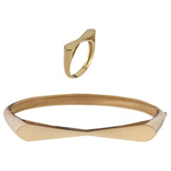 18 Karat Yellow Gold Tie Bracelet and Ring, Set. Sustainable Fine Jewelry