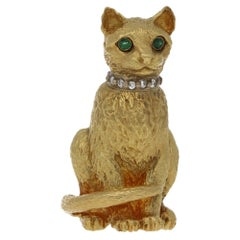 18 Karat Gold Tiffany & Co. Diamond Cat Brooch