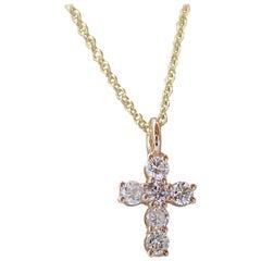 18 Karat Gold Tiny Cross with 0.30 Carat of Diamond Hangs on Chain