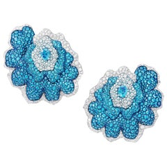 18 Karat Gold, Titanium, Diamonds, Paraiba Tourmaline and Blue Topaz Earrings