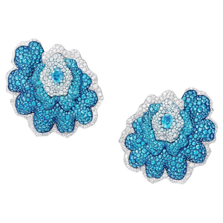 Enchanted Garden gold, titanium, diamond, Paraíba tourmaline and blue topaz earrings, 2017
