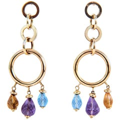 18 Karat Gold Topaz, Amethyst and Citrine Italian Drop Earrings