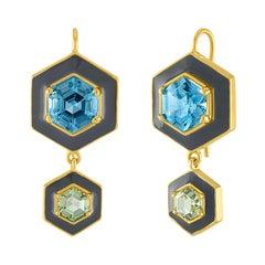 18 Karat Gold, Topaz and Enamel Drop Earrings