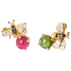 "18 Karat Gold Tourmaline 0.12 Karat White Diamonds ""Little Bees"" Stud Earrings"