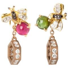 Ugolini 18 Karat Gold Tourmaline 0.71 White Diamond Bee Hexagon Pendent Earrings