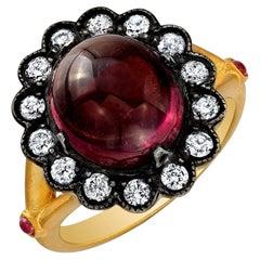 18 Karat Gold, Tourmaline and Diamond Flower Ring 'Sarah'