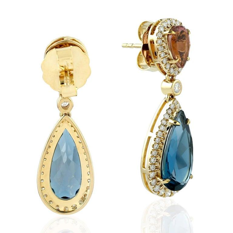 Contemporary 18 Karat Gold Tourmaline Diamond Earrings For Sale