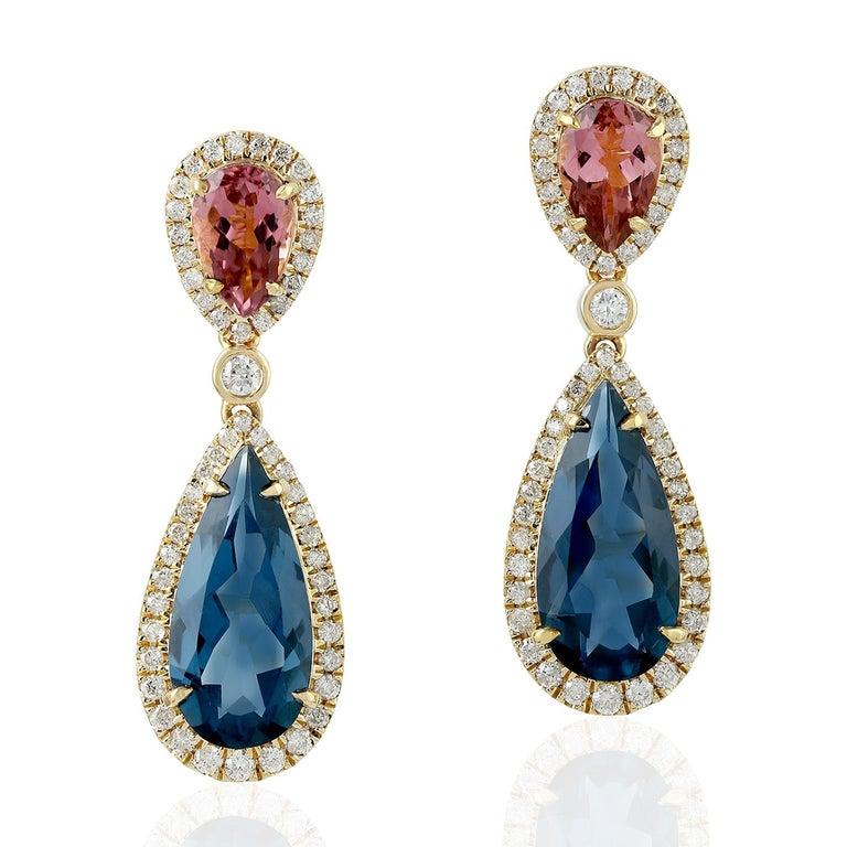Pear Cut 18 Karat Gold Tourmaline Diamond Earrings For Sale