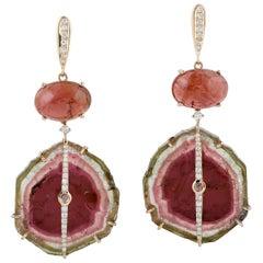 Tourmaline Diamond 18 Karat Gold Earrings