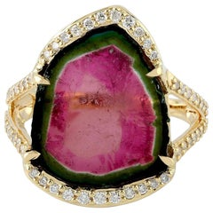 18 Karat Gold Tourmaline Diamond Ring