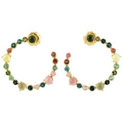 Tourmaline 18 Karat Gold Hoop Earrings