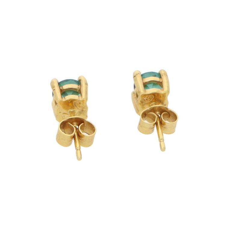 Women's or Men's 18 Karat Gold Tourmaline Stud Earrings For Sale
