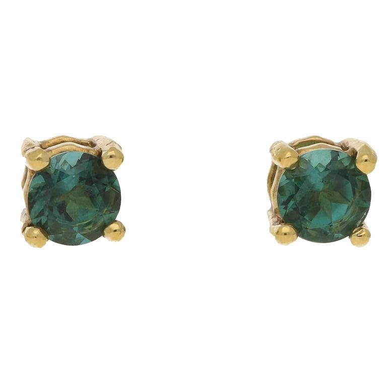 18 Karat Gold Tourmaline Stud Earrings For Sale