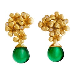 18 Karat Gold Transformer Earrings by the Artist with Diamonds and Emeralds