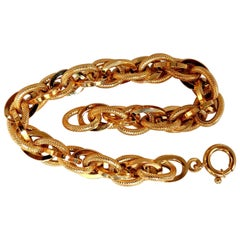 18 Karat Gold Tri-Link Intertwined Bracelet 18 Gram