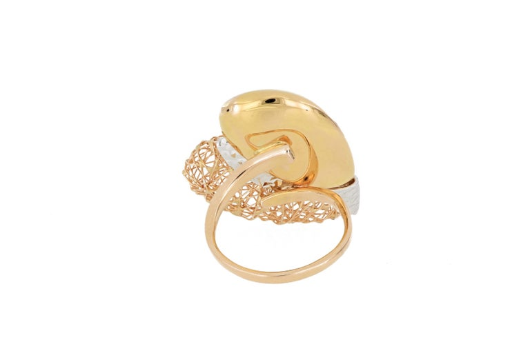 Contemporary 18 Karat Gold Tricolor Ring For Sale