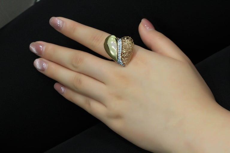 Women's 18 Karat Gold Tricolor Ring For Sale