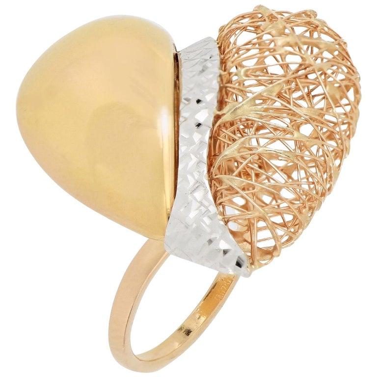 18 Karat Gold Tricolor Ring For Sale