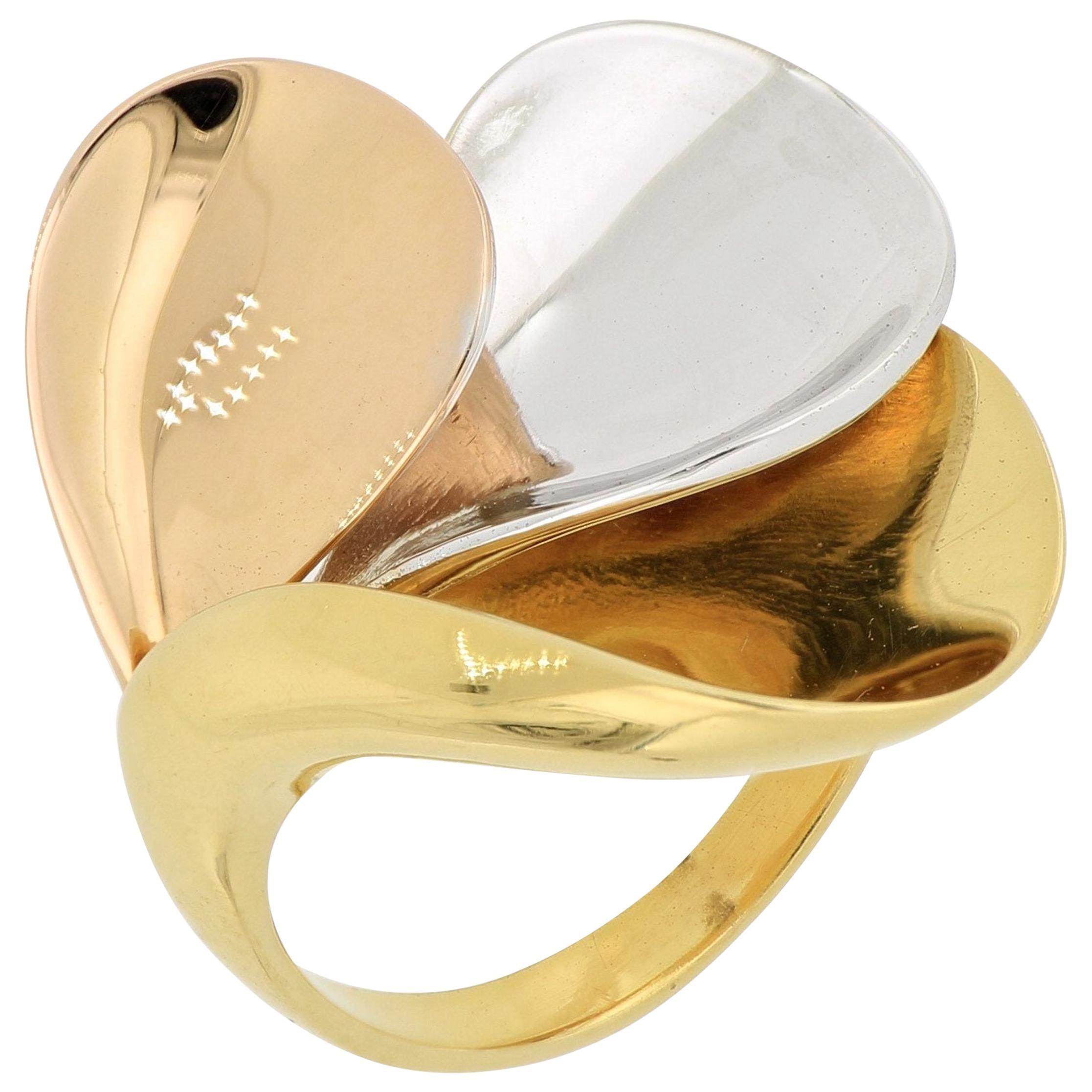 18 Karat Gold Tricolor Ring