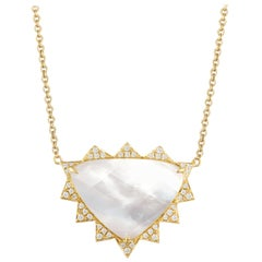 18 Karat Gold Trillion Doublet Necklace with Mother of Pearl Quartz and Diamonds
