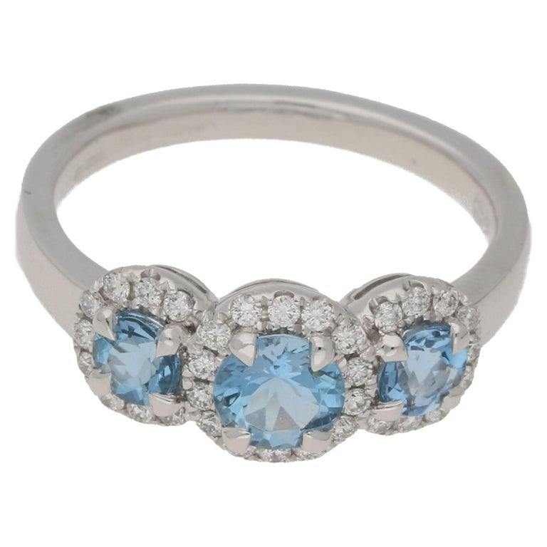 18 Karat Gold Triple Aquamarine Diamond Cluster Ring