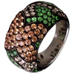 18 Karat Gold Tsavorite, Sapphire and Diamond Cocktail Band Ring