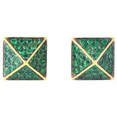 18 Karat Gold Tsavorite Spike Stud Earrings