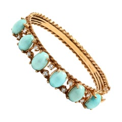 18 Karat Gold Turquoise and Diamond Bangle Bracelet, circa 1960s