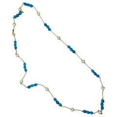 18 Karat Gold Turquoise and Pearl  Necklace
