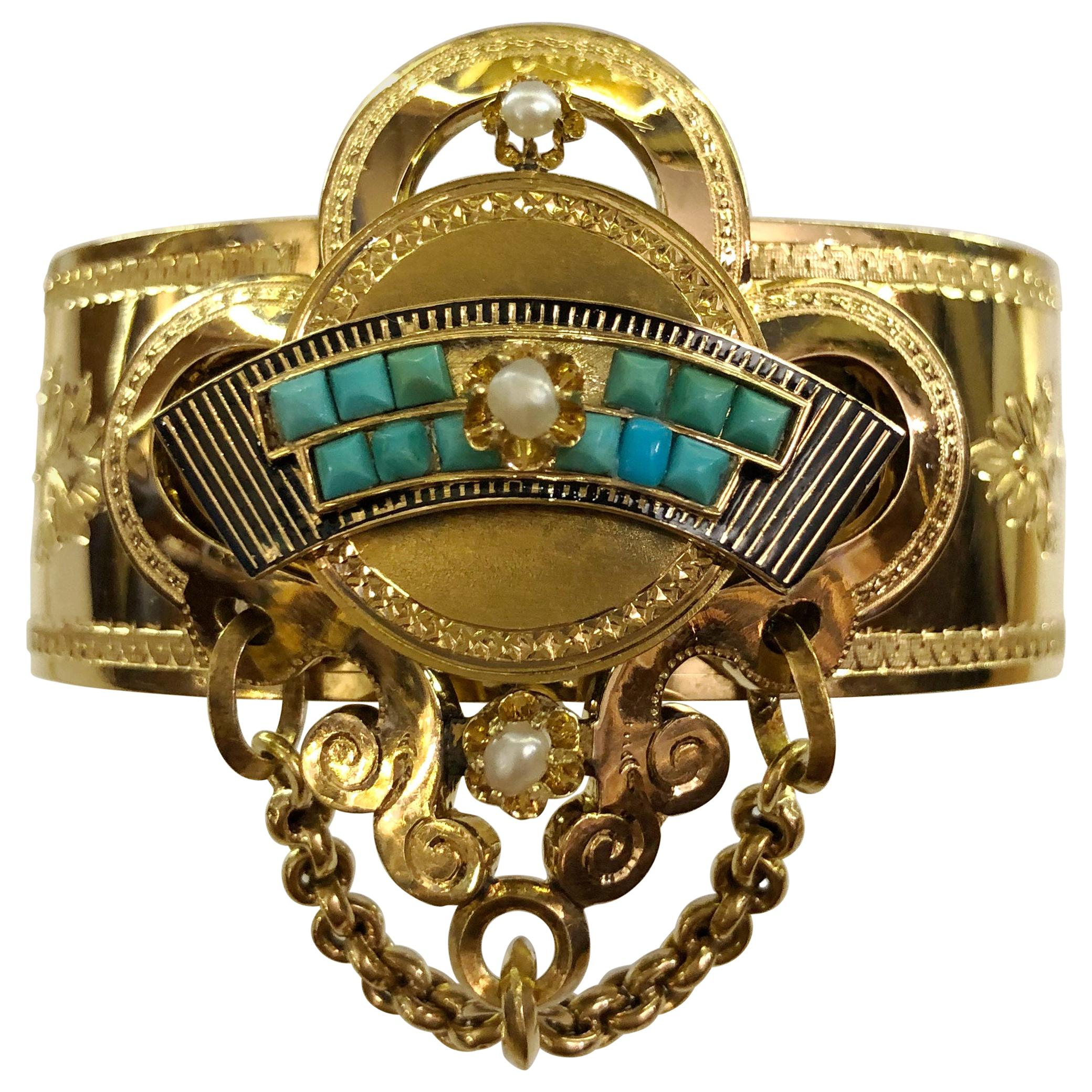 18 Karat Gold Turquoise and Pearls Bracelet